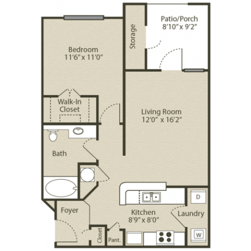 Image of the Piedmont Renovated floorplan, an open concept 1 bedroom, 1 bathroom apartment at Retreat at Peachtree City