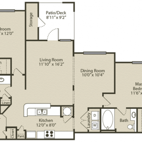Image of the Chastain with Garage Renovated floorplan, an open concept 2 bedroom, 2 bathroom apartment at Retreat at Peachtree City