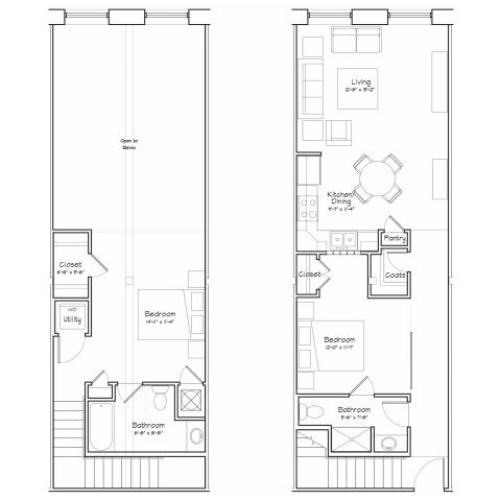 2x2-B5LRu Floor Plan | 2 Bedroom with 2 Bath | 1090 Square Feet | Alpha Mill | Apartment Homes