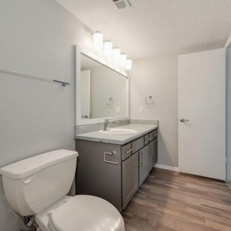 View of Renovated Apartment Interior, Showing Bathroom with Single Vanity and Plank Wood Flooring at Waterford Creek Apartments