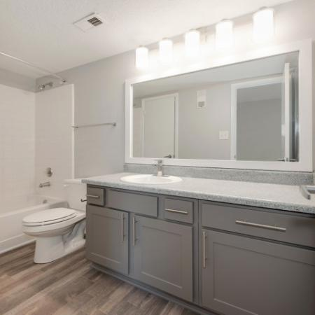 View of Renovated Apartment Interior, Showing Bathroom with Plank Wood Flooring, Single Vanity, and Tub at Waterford Creek Apartments