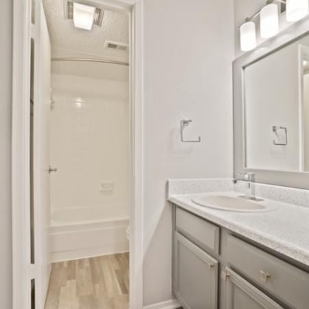 View of Renovated Apartment Interior, Showing Bathroom with Single Vanity and Plank Wood Flooring at The Oaks of North Dallas Apartments