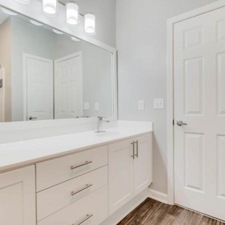 View of Bathroom, Showing Double Vanity, Walk-In Closet, Long Mirror, and Plank Flooring at Retreat at River Park Apartments