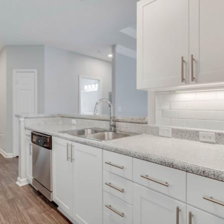 View of Kitchen, Showing Unfurnished Apartment, Counters, Cabinets, Tile Backsplash and Plank Flooring at Retreat at River Park Apartments