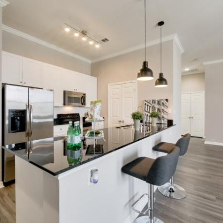 View of Renovated Apartment Interior, Showing Kitchen With Granite Counter Top and Stainless Steel Appliances at McKinney Uptown Apartments