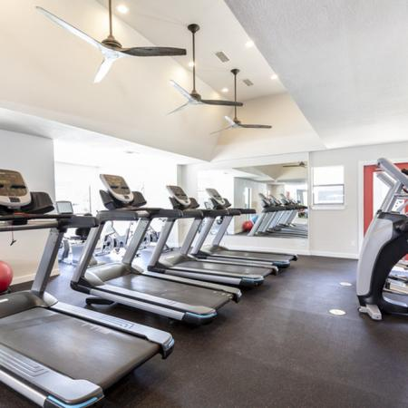 View of Fitness Center, Showing Treadmills, Ellipticals, and Stationary Bike at The Arbors of Las Colinas Apartments