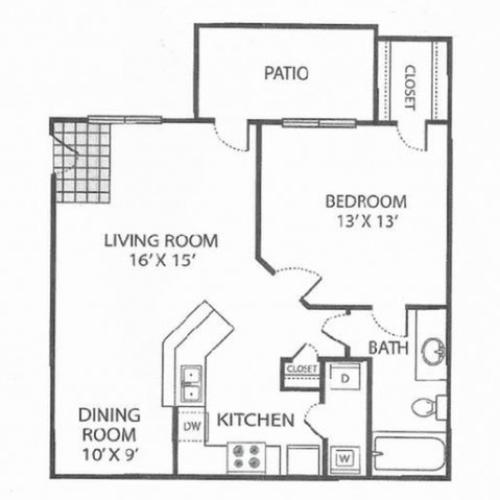 A-2 Floor Plan | 1 Bedroom with 1 Bath | 754 Square Feet | Toscana at Valley Ridge | Apartment Homes