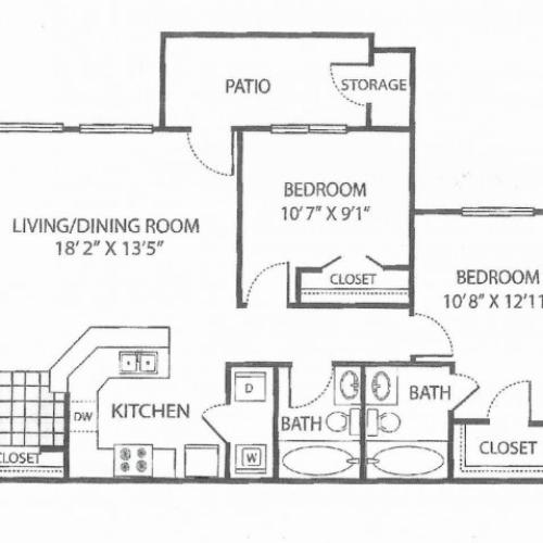 B-1 Floor Plan | 2 Bedroom with 2 Bath | 912 Square Feet | Toscana at Valley Ridge | Apartment Homes