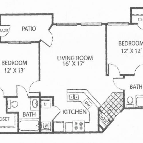 B-2 Floor Plan | 2 Bedroom with 2 Bath | 960 Square Feet | Toscana at Valley Ridge | Apartment Homes