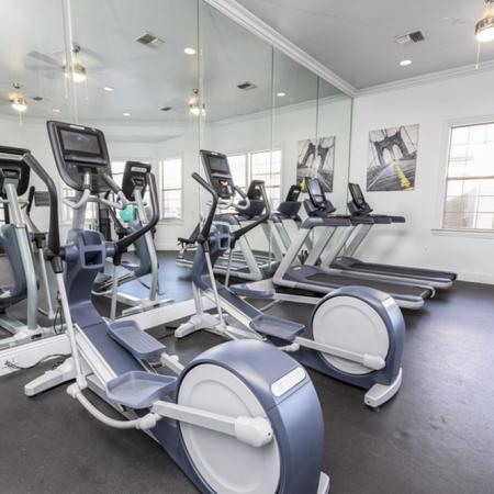 View of Fitness Center, Showing Cardio Equipment, Weight Bench, and Wall of Mirrors at Stonebriar of Frisco Apartments