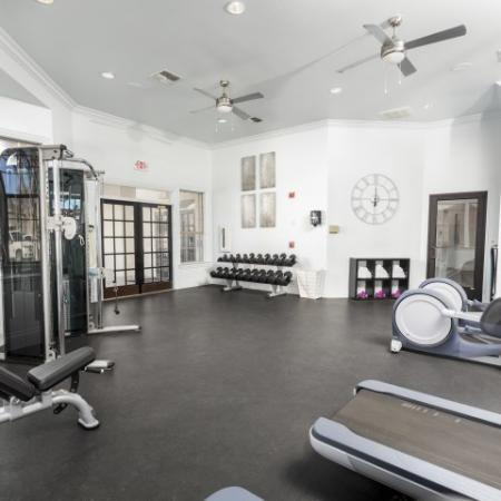 View of Fitness Center, Showing Weight Benches, Stability Balls, Free Weights, and Cardio Equipment at Stonebriar of Frisco Apartments