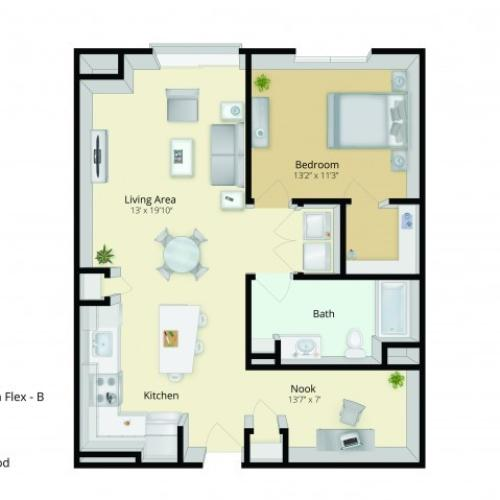 A3D Floor Plan | 1 Bedroom with 1 Bath and Den | 906 Square Feet | Cottonwood One Upland | Apartment Homes