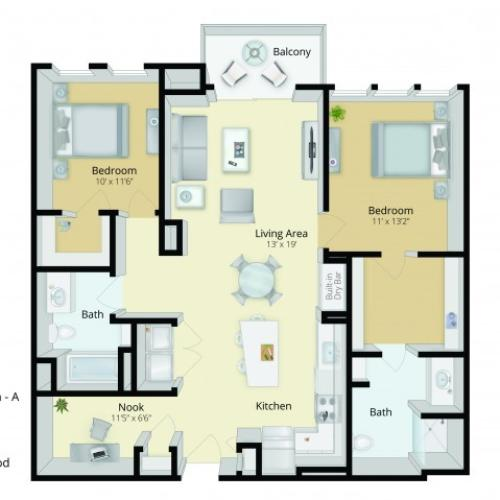 B1 Floor Plan | 2 Bedroom with 2 Bath | 1183 Square Feet | Cottonwood One Upland | Apartment Homes