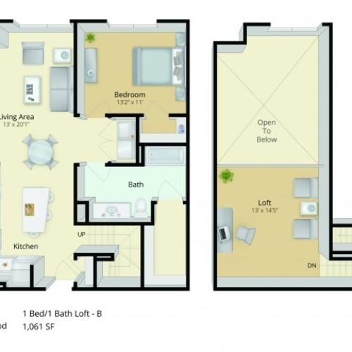 A7L Floor Plan | 1 Bedroom with 1 Bath and Loft | 1061 Square Feet | Cottonwood One Upland | Apartment Homes