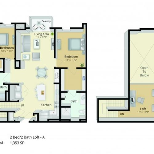 B4L Floor Plan | 2 Bedroom with 2 Bath and Loft | 1353 Square Feet | Cottonwood One Upland | Apartment Homes