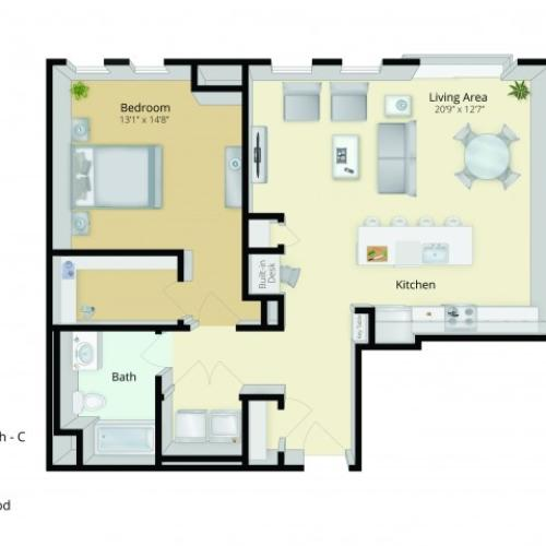 A5 Floor Plan | 1 Bedroom with 1 Bath | 1032 Square Feet | Cottonwood One Upland | Apartment Homes