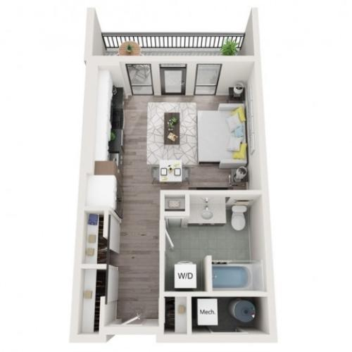 Studio S1 3D Floor Plan | Studio with 1 Bath | 504 Square Feet | Sugarmont | Apartment Homes