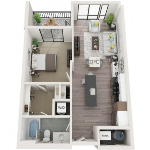 A9 3D Floor Plan | 1 Bedroom with 1 Bath | 751 Square Feet | Sugarmont | Apartment Homes