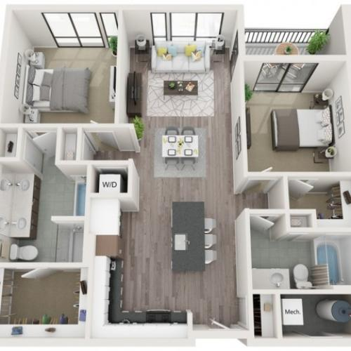 B4 3D Floor Plan | 2 Bedroom with 2 Bath | 1161 Square Feet | Sugarmont | Apartment Homes