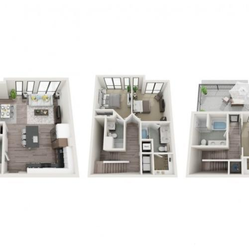 Townhouse T1 3D Floor Plan | 3 Bedroom with 3.5 Bath | 1615 Square Feet | Sugarmont | Apartment Homes