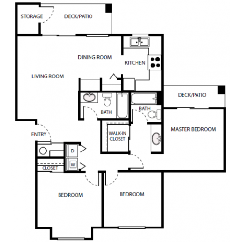 C2r Floor Plan | 3 Bedroom with 2 Bath | 1072 Square Feet | Scott Mountain | Apartment Homes