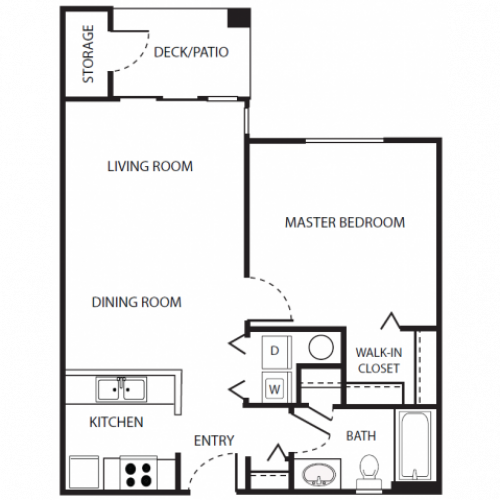 A1r Floor Plan | 1 Bedroom with 1 Bath | 636 Square Feet | Scott Mountain | Apartment Homes
