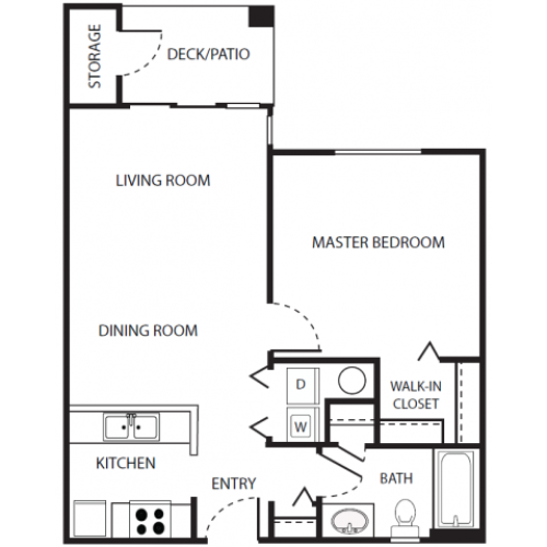 A3r Floor Plan | 1 Bedroom with 1 Bath | 656 Square Feet | Scott Mountain | Apartment Homes