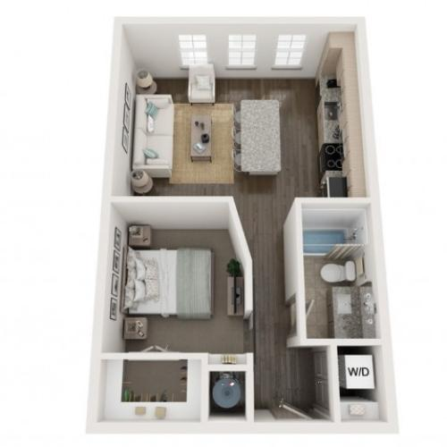 S1 Floor Plan | Studio with 1 Bath | 610 Square Feet | Murano at Three Oaks | Apartment Homes