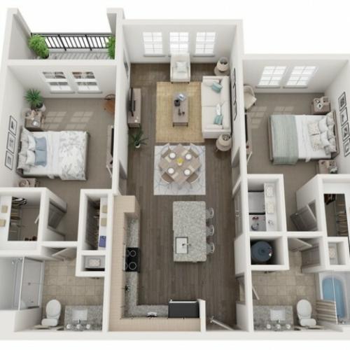 B1 Floor Plan | 2 Bedroom with 2 Bath | 1064 Square Feet | Murano at Three Oaks | Apartment Homes