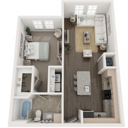 A3 Floor Plan | 1 Bedroom with 1 Bath | 753 Square Feet | Murano at Three Oaks | Apartment Homes