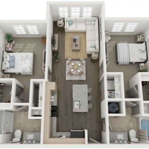 B2 Floor Plan | 2 Bedroom with 2 Bath | 1064 Square Feet | Murano at Three Oaks | Apartment Homes