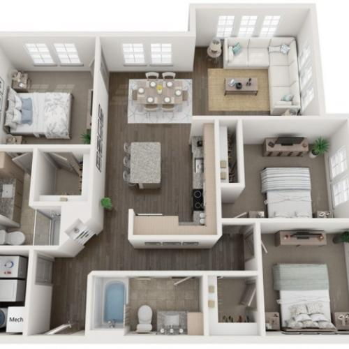 C2 Floor Plan | 3 Bedroom with 2 Bath | 1274 Square Feet | Murano at Three Oaks | Apartment Homes