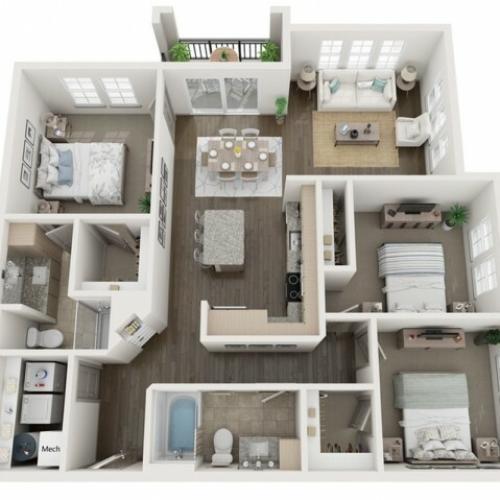 C1 Floor Plan   3 Bedroom with 2 Bath   1274 Square Feet   Murano at Three Oaks   Apartment Homes