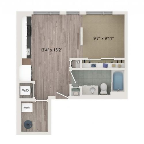 Studio S2 Floor Plan | Studio with 1 Bath | 535 Square Feet | Sugarmont | Apartment Homes