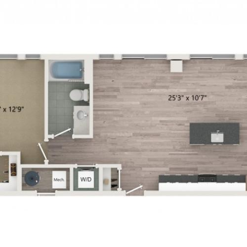 A6 Floor Plan | 1 Bedroom with 1 Bath | 791 Square Feet | Sugarmont | Apartment Homes