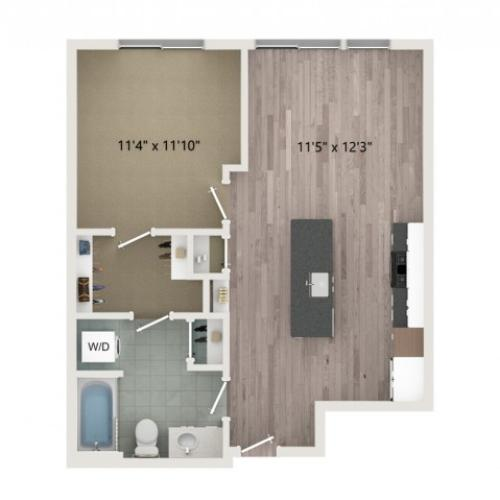 A1 Floor Plan | 1 Bedroom with 1 Bath | 671 Square Feet | Sugarmont | Apartment Homes