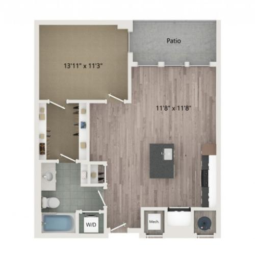 A8 Floor Plan | 1 Bedroom with 1 Bath | 736 Square Feet | Sugarmont | Apartment Homes