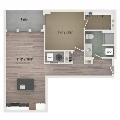 A12 Floor Plan | 1 Bedroom with 1 Bath | 761 Square Feet | Sugarmont | Apartment Homes