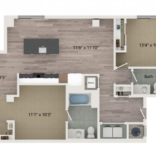 B1 Floor Plan | 2 Bedroom with 2 Bath | 1084 Square Feet | Sugarmont | Apartment Homes