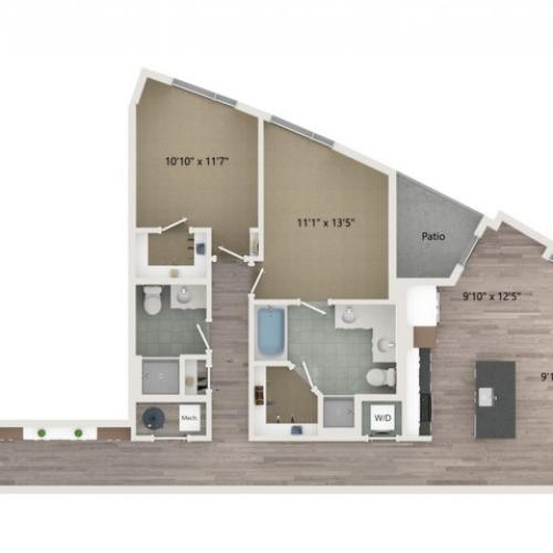 B9 Floor Plan | 2 Bedroom with 2 Bath | 1289 Square Feet | Sugarmont | Apartment Homes