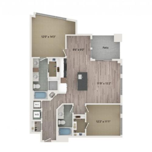 B5 Floor Plan | 2 Bedroom with 2 Bath | 1212 Square Feet | Sugarmont | Apartment Homes