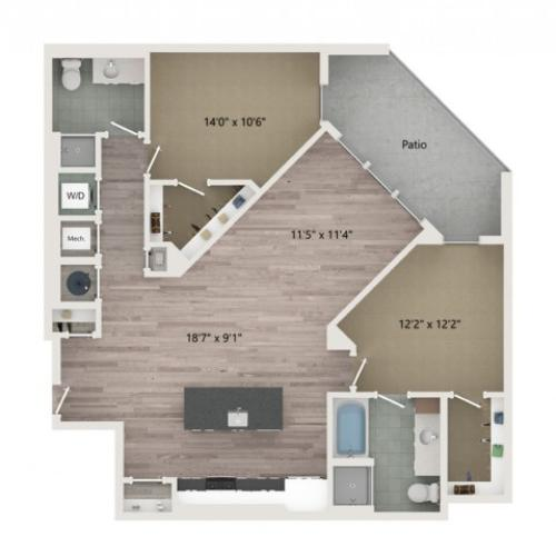 B7 Floor Plan | 2 Bedroom with 2 Bath | 1237 Square Feet | Sugarmont | Apartment Homes