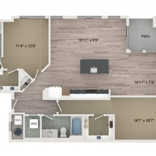 B11 Floor Plan | 2 Bedroom with 2 Bath | 1284 Square Feet | Sugarmont | Apartment Homes