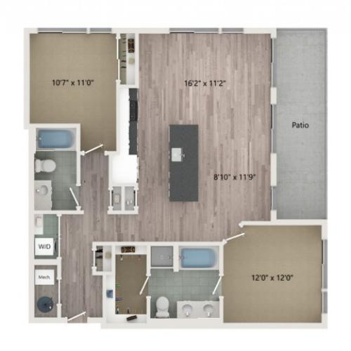 B3 Floor Plan | 2 Bedroom with 2 Bath | 1158 Square Feet | Sugarmont | Apartment Homes