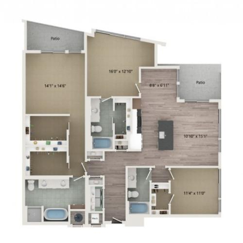 Penthouse C2 Floor Plan | 3 Bedroom with 3 Bath | 1810 Square Feet | Sugarmont | Apartment Homes