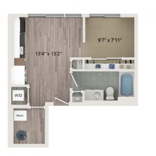 Studio S2 ALT 1 Floor Plan | Studio with 1 Bath | 481 Square Feet | Sugarmont | Apartment Homes