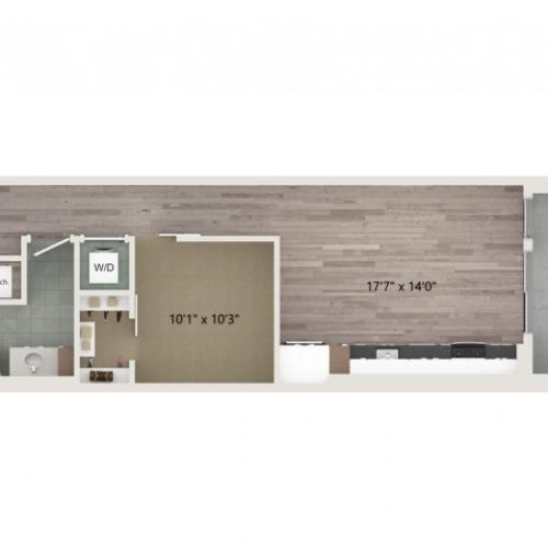 Urban UB2 ALT 1 Floor Plan | 1 Bedroom with 1 Bath | 664 Square Feet | Sugarmont | Apartment Homes