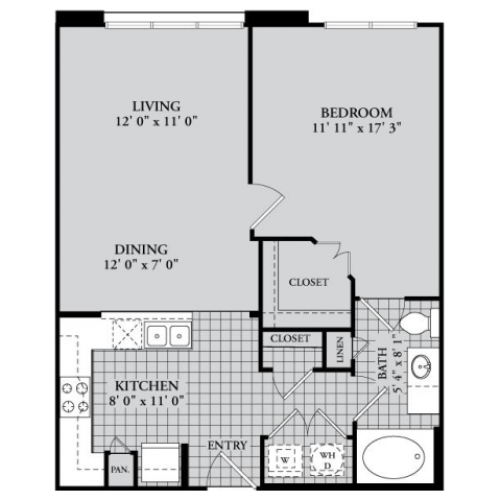 A3 Floor Plan | 1 Bedroom with 1 Bath | 753 Square Feet | McKinney Uptown | Apartment Homes