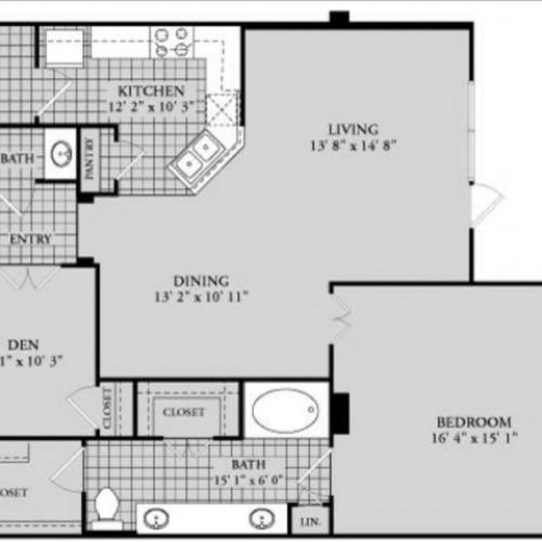 A14 Floor Plan | 1 Bedroom with 1 Bath | 1164 Square Feet | McKinney Uptown | Apartment Homes