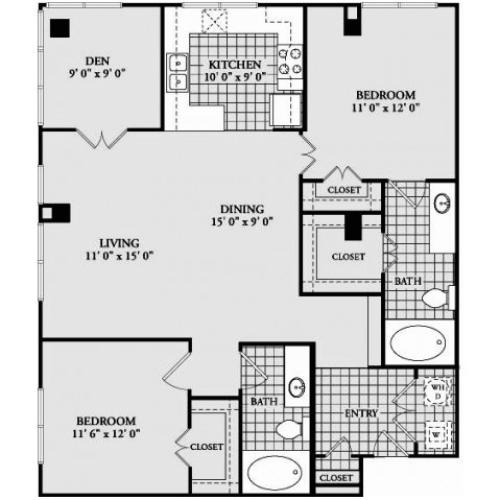 B7 Floor Plan | 2 Bedroom with 2 Bath | 1242 Square Feet | McKinney Uptown | Apartment Homes